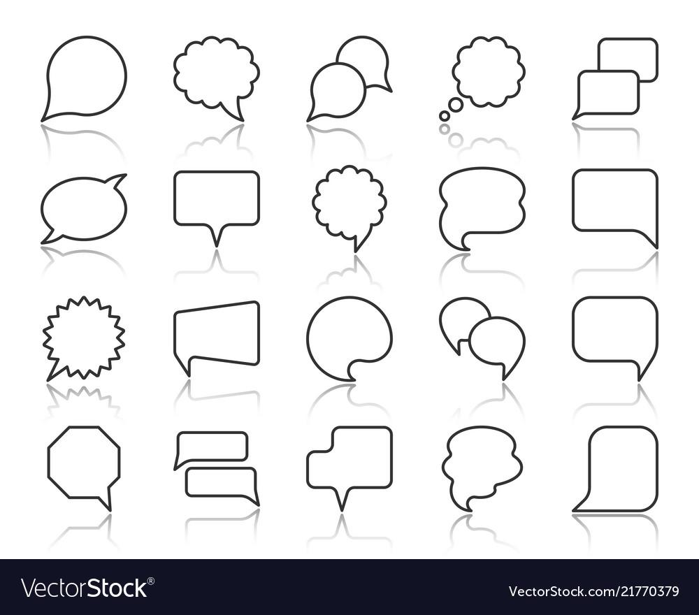 Speech bubble simple black line icons set