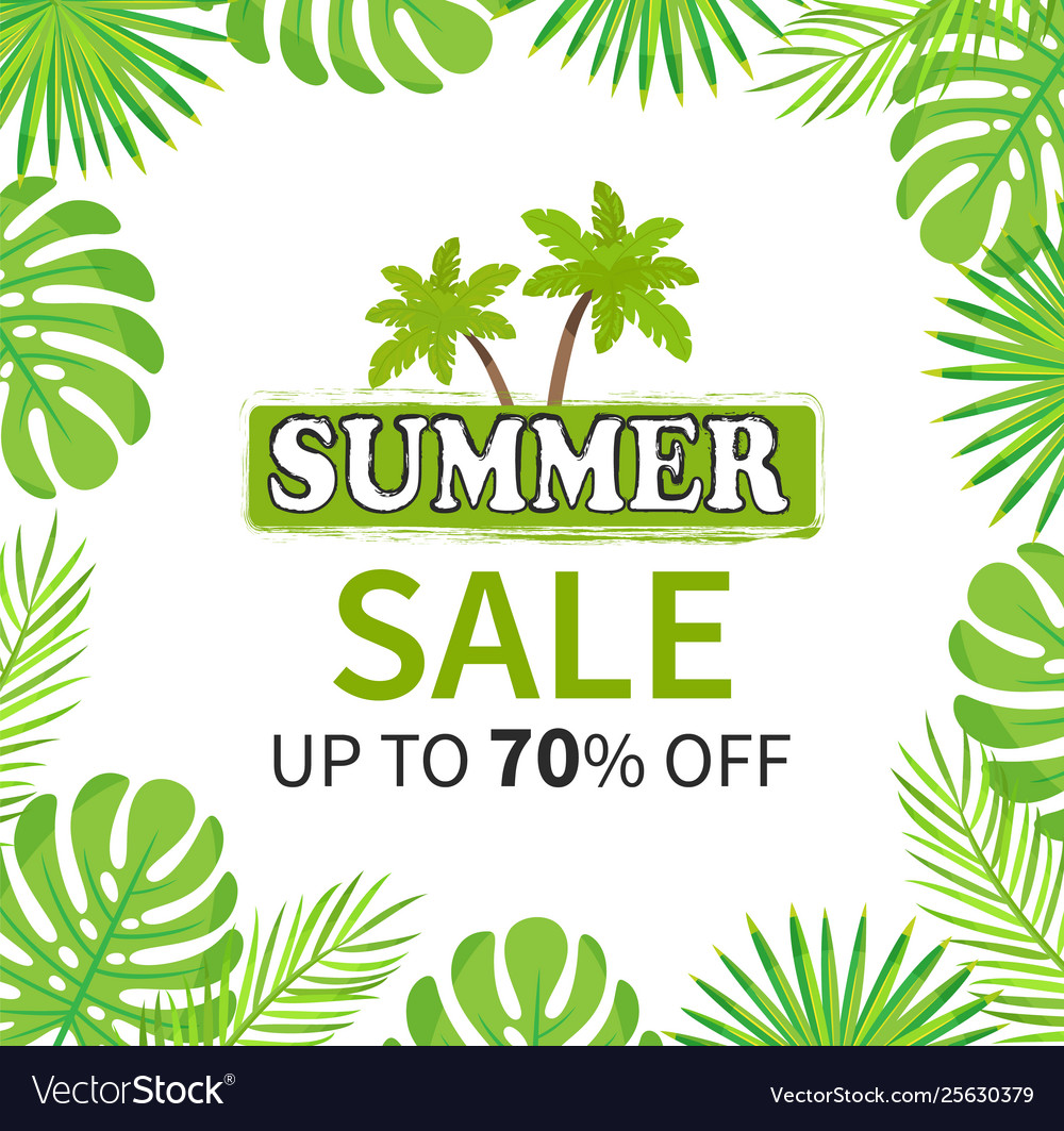 Summer sale up to 70 percent palm tree banner