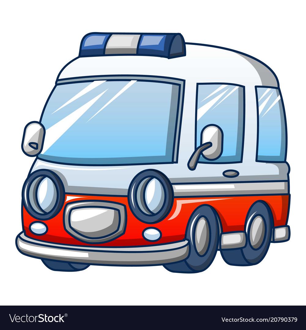 Trendy ambulance icon cartoon style
