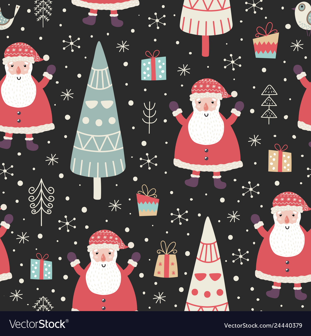 Winter seamless pattern with a cute santa