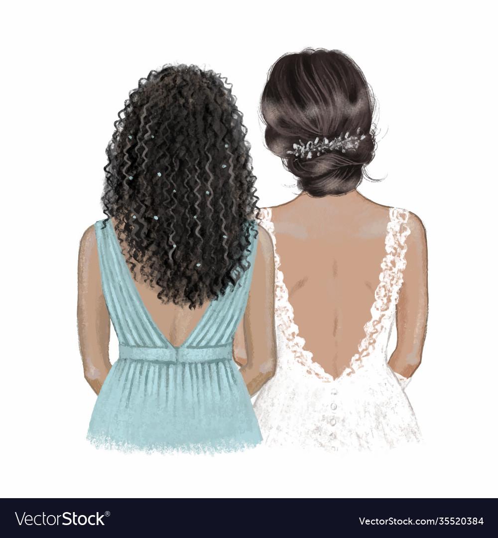 Black bride and bridesmaid hand drawn