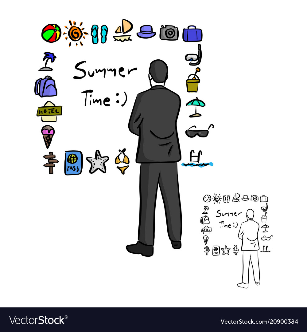 Businessman looking at summer icon set