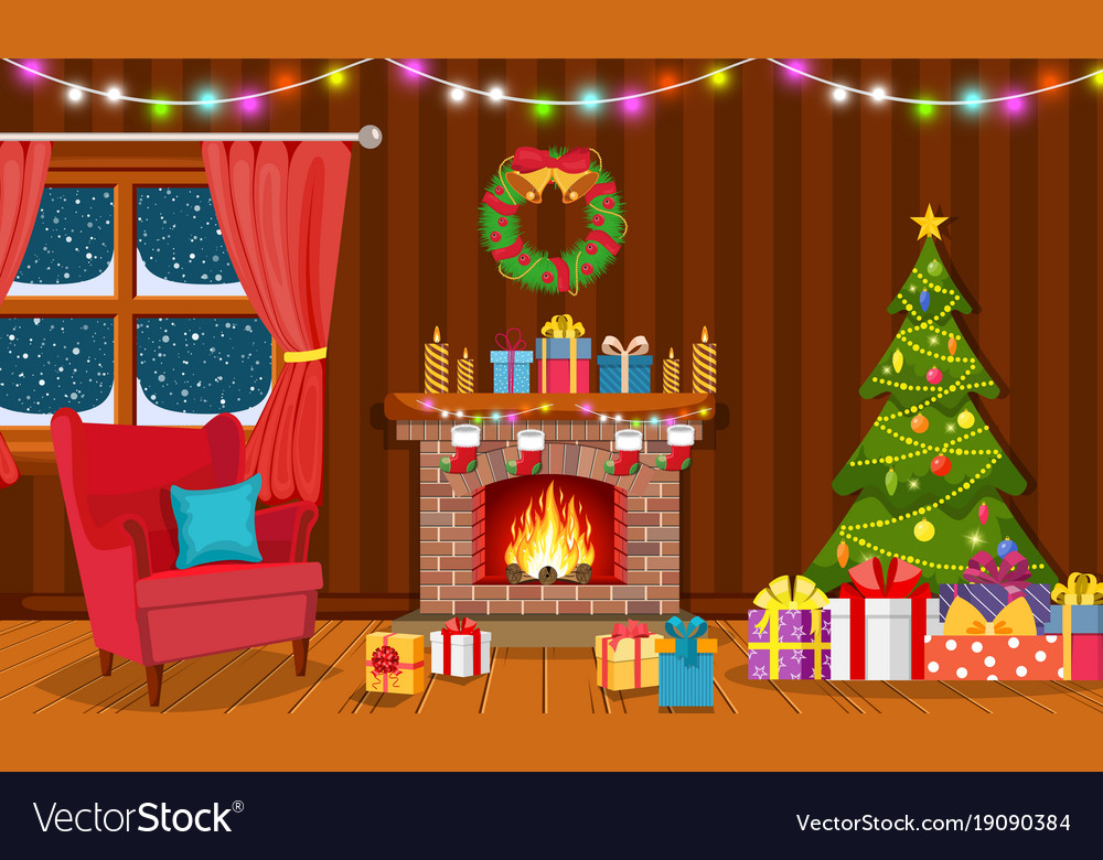 Christmas Interior Of The Living Room Royalty Free Vector