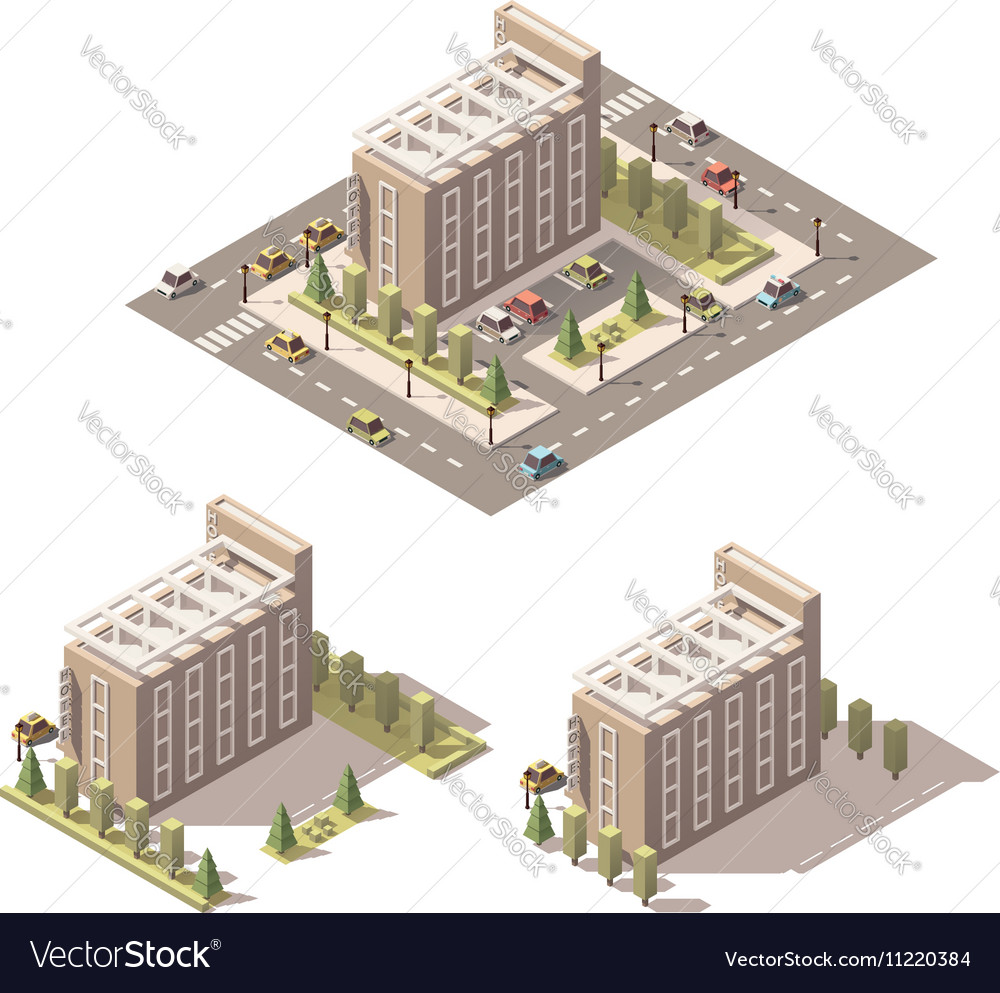 Isometric low poly hotel