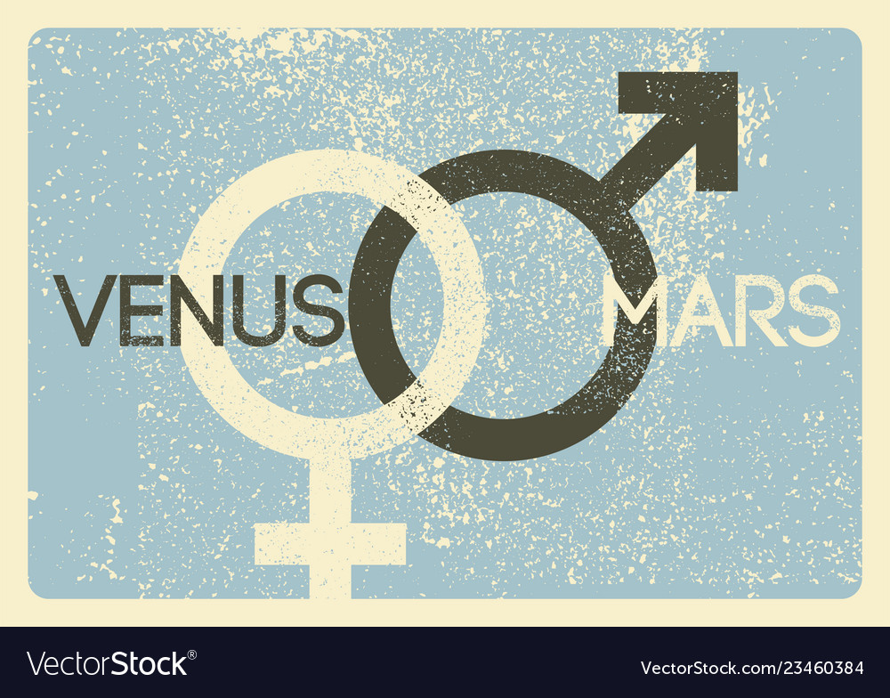 Male and female symbols vintage grunge poster