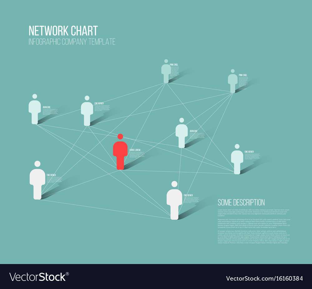 Minimalist network 3d chart Royalty Free Vector Image