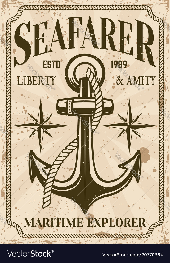 Nautical poster in vintage style with anchor