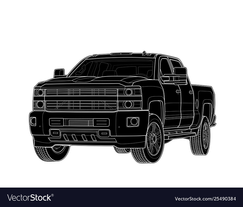 Pickup truck draw isolated on white