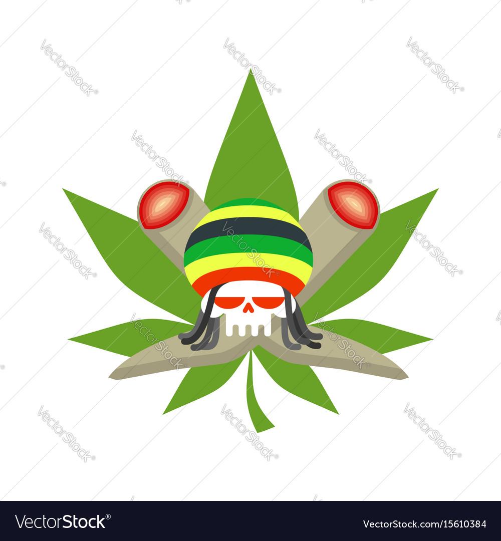 Rasta logo rastafarian hat and skull joint or vector image