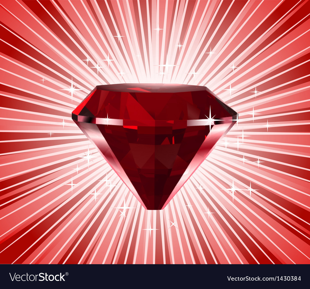 Red diamond shine background vector image