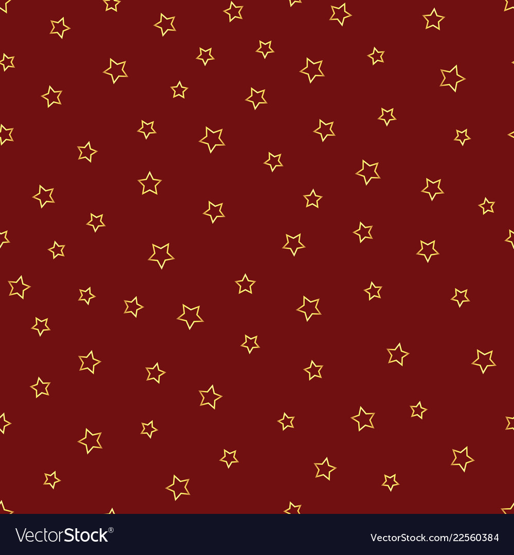 Seamless pattern with gold stars contours on red