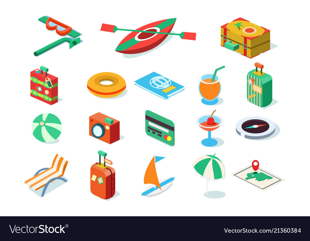 Travel icons set summer vacation objects