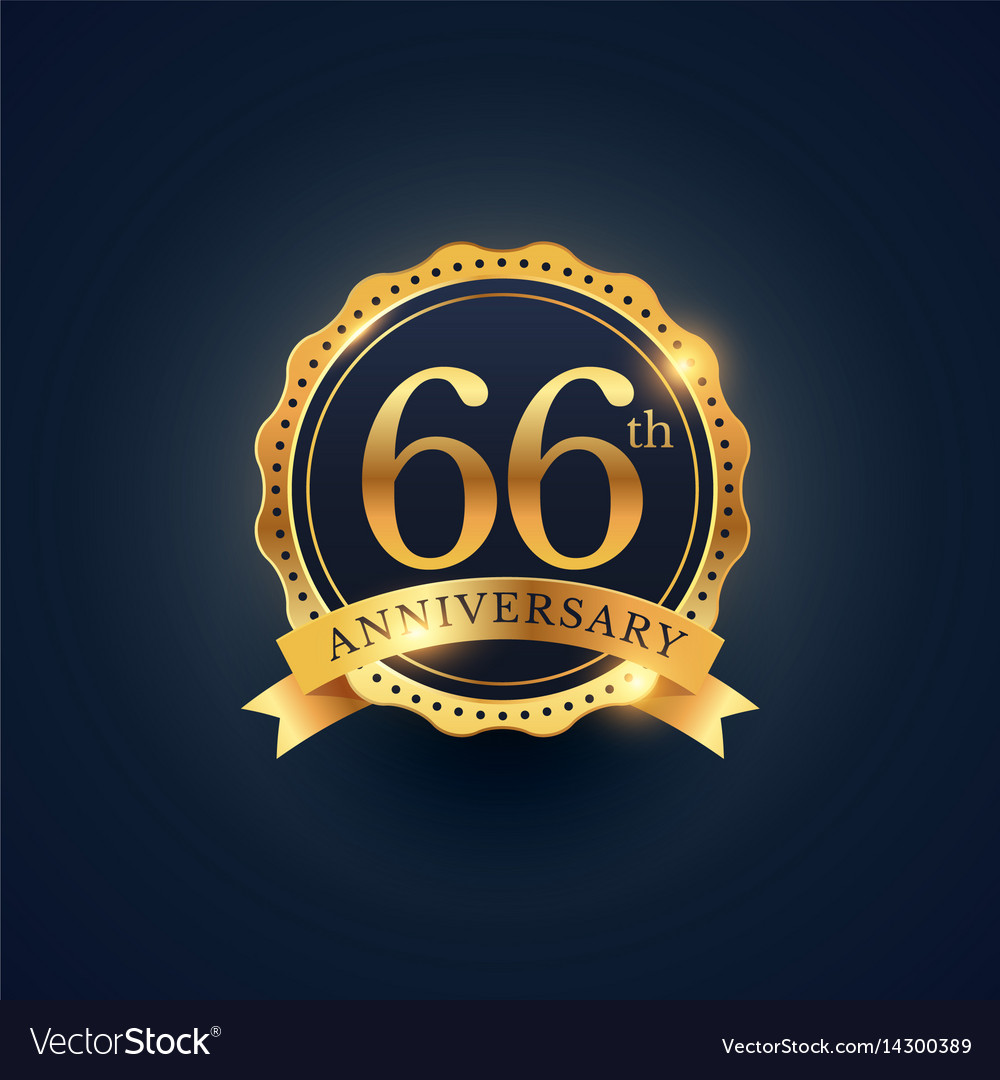 66th anniversary celebration badge label in