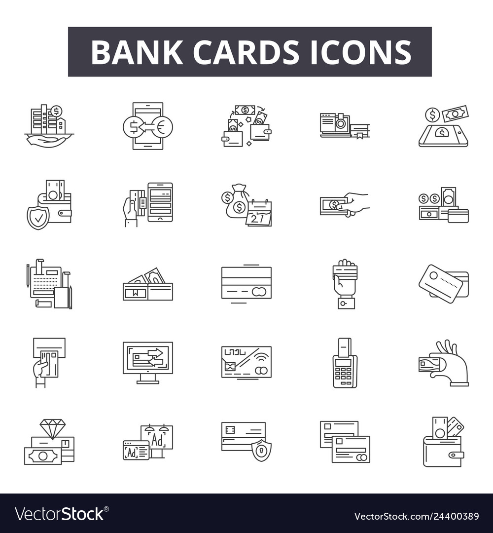 Bank cards line icons for web and mobile design