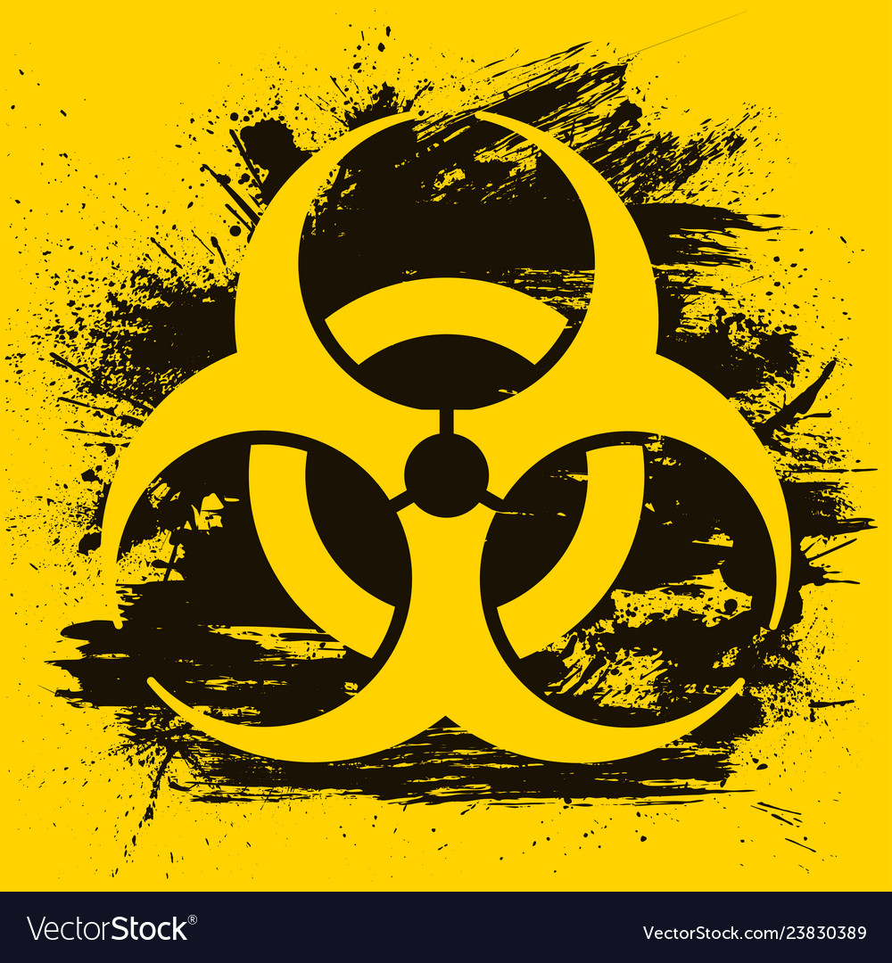 Biohazard dangerous sign on grunge background