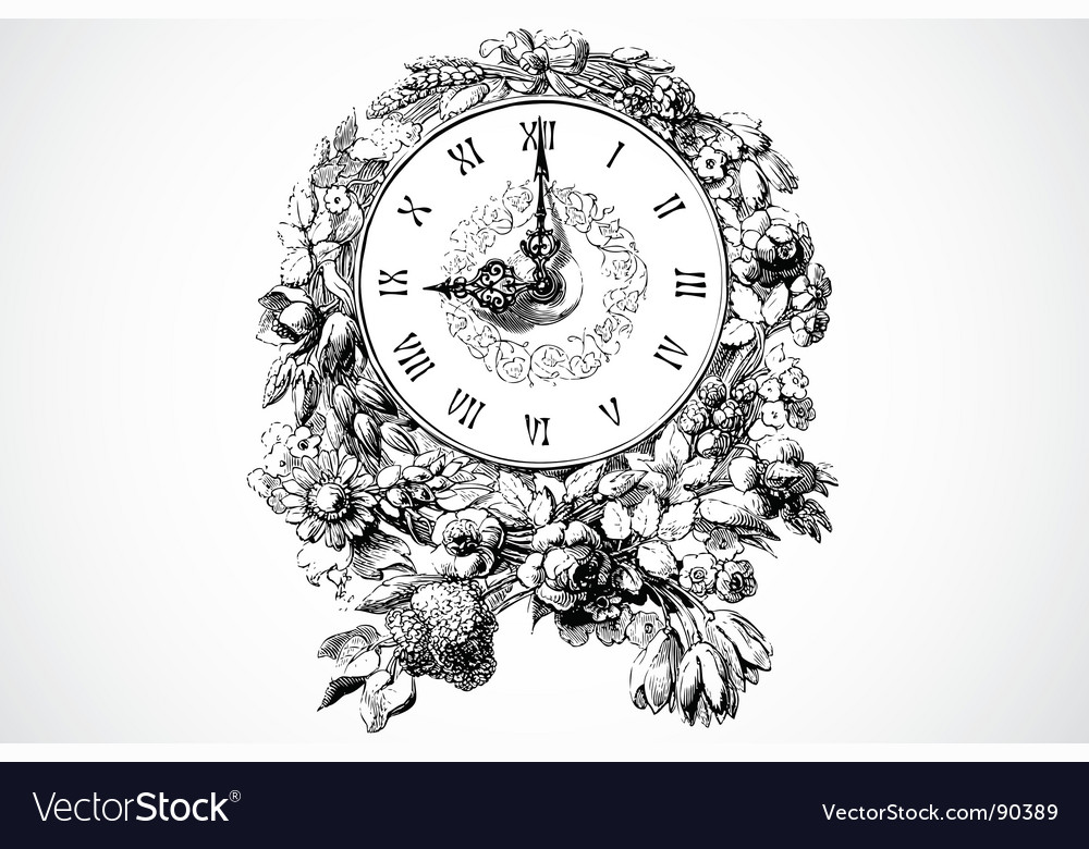 Clock ornament vector image