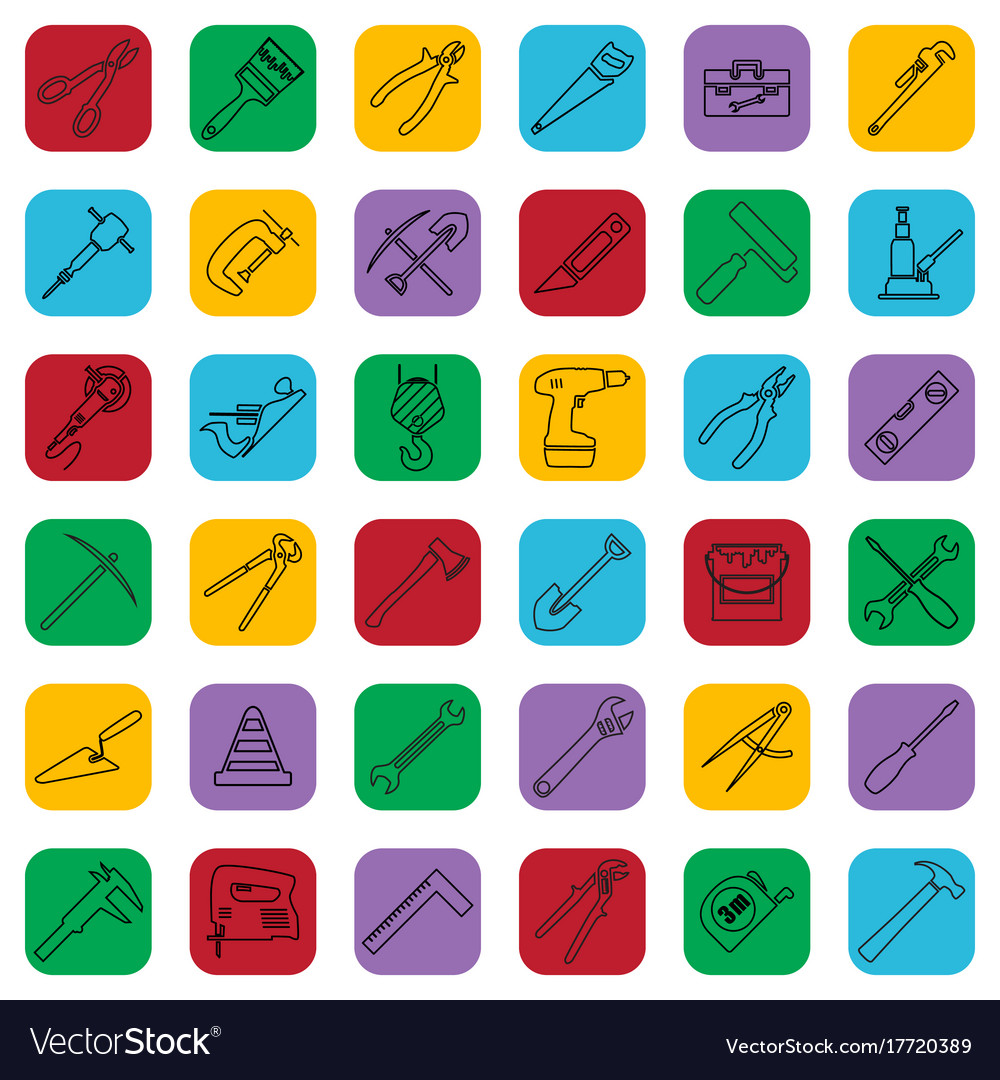 Construction tools outline icons set on a color