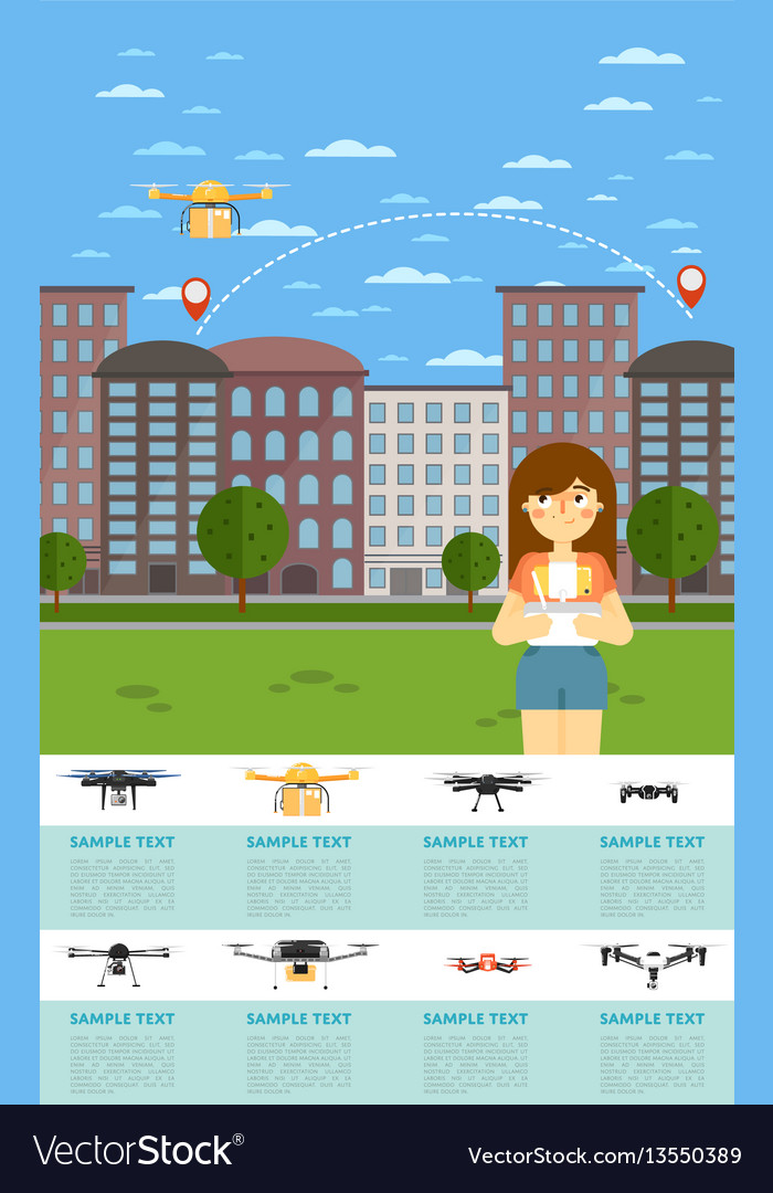 drone aircraft website template with flying robot vector image. Black Bedroom Furniture Sets. Home Design Ideas