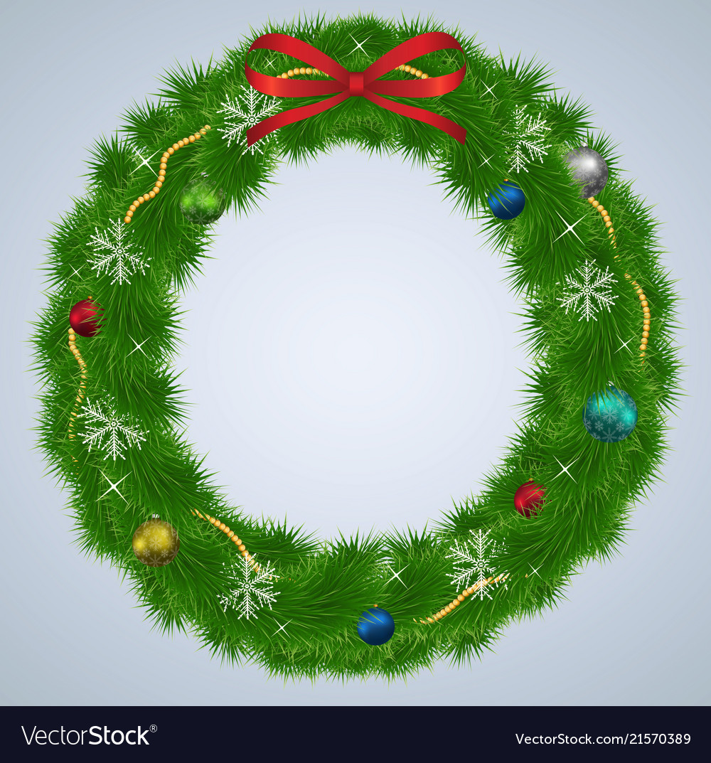 Green christmas wreath with ornaments and red