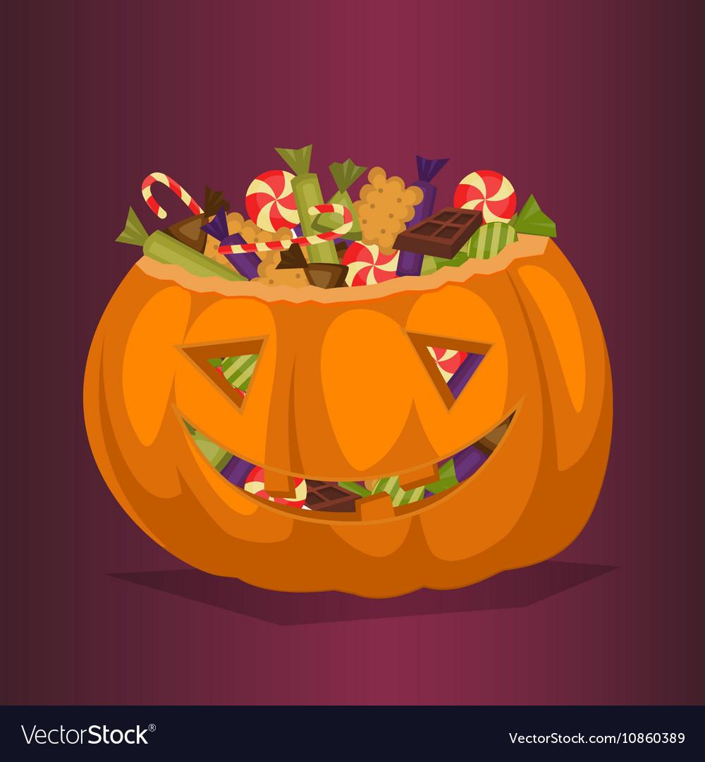Halloween pumpkin full of candy treats vector image