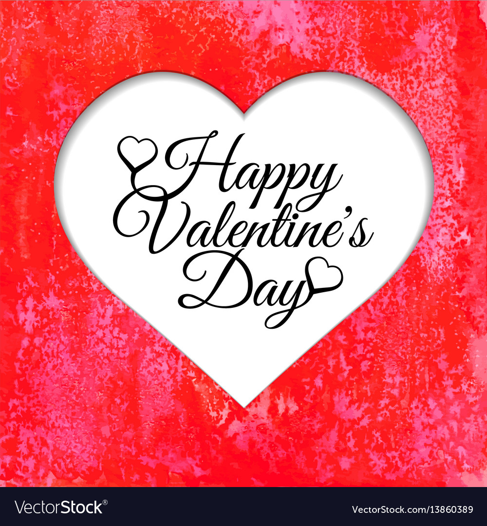 Happy valentines day card with red watercolor