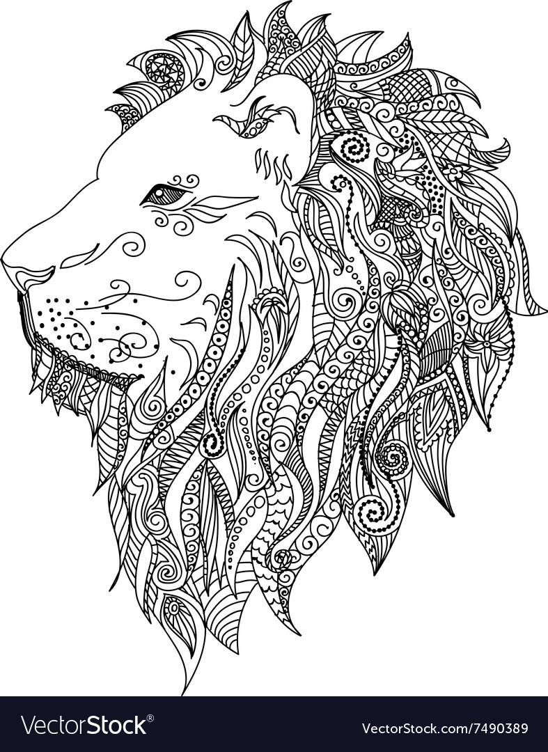 Lion Mehndi Tattoo Doodles style