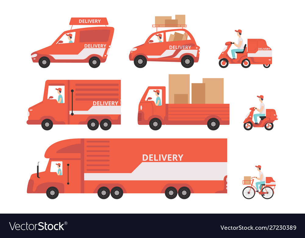Red delivery vehicles set express delivery