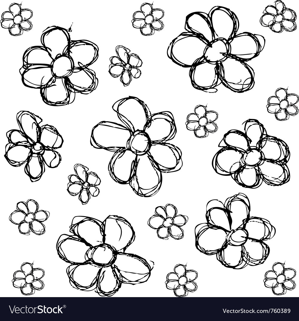 Scribble series - flowers vector image