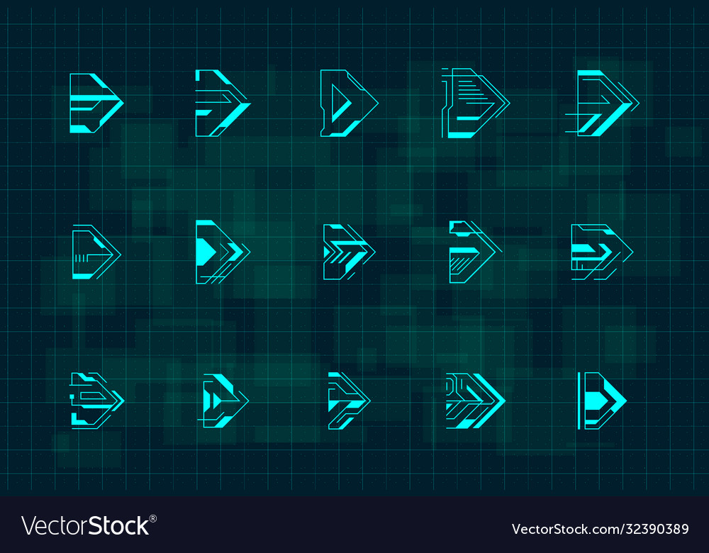 Set futuristic hud blue arrows cyberpunk