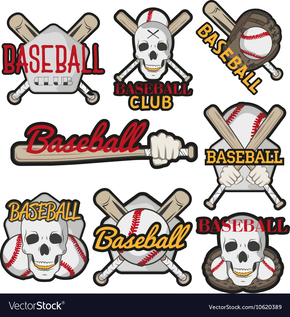 Set of colorful baseball club labels Sport