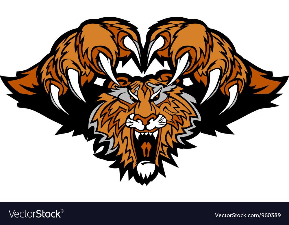Tiger Mascot Pouncing Graphic vector image