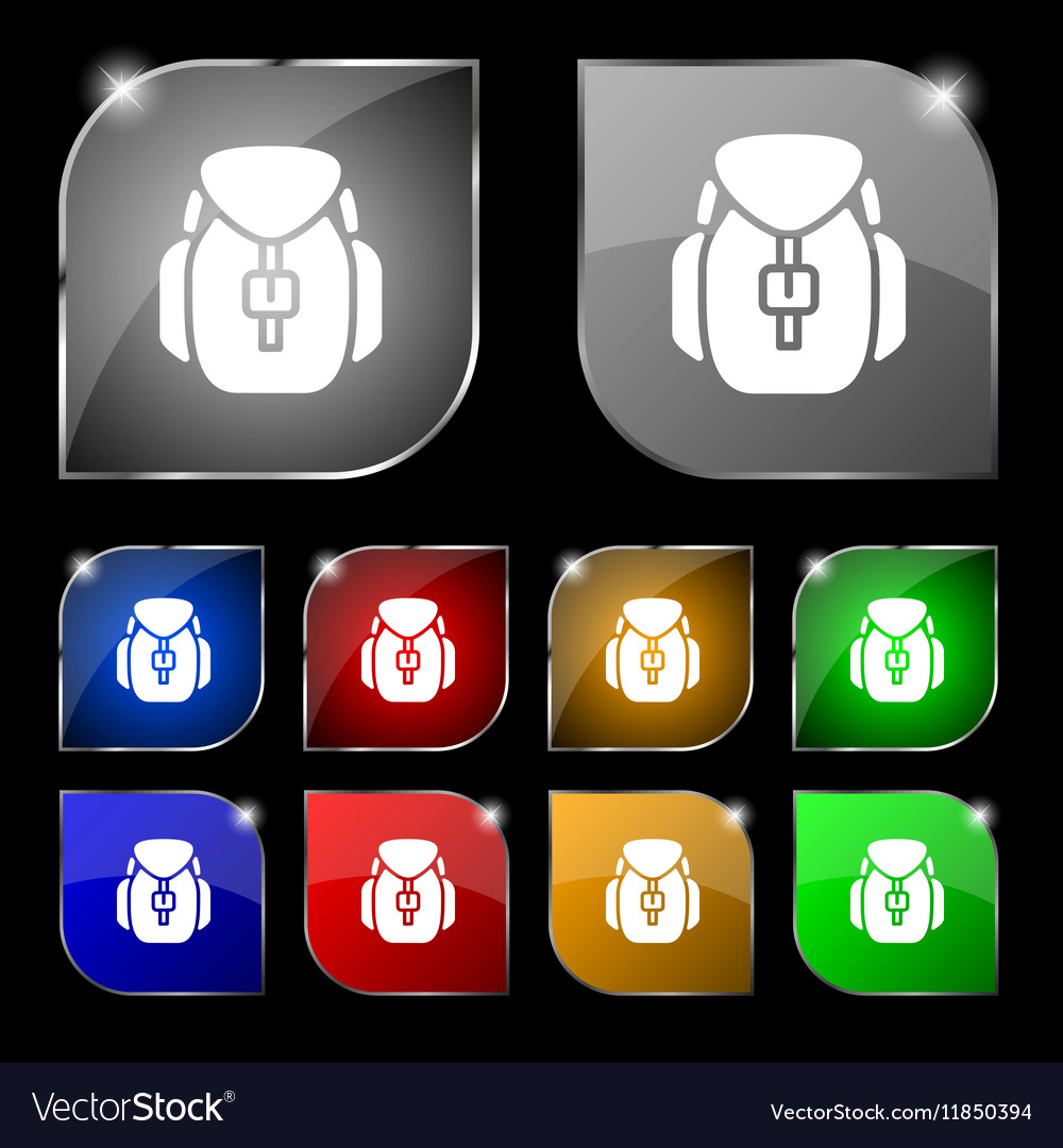 Backpack icon sign Set of ten colorful buttons