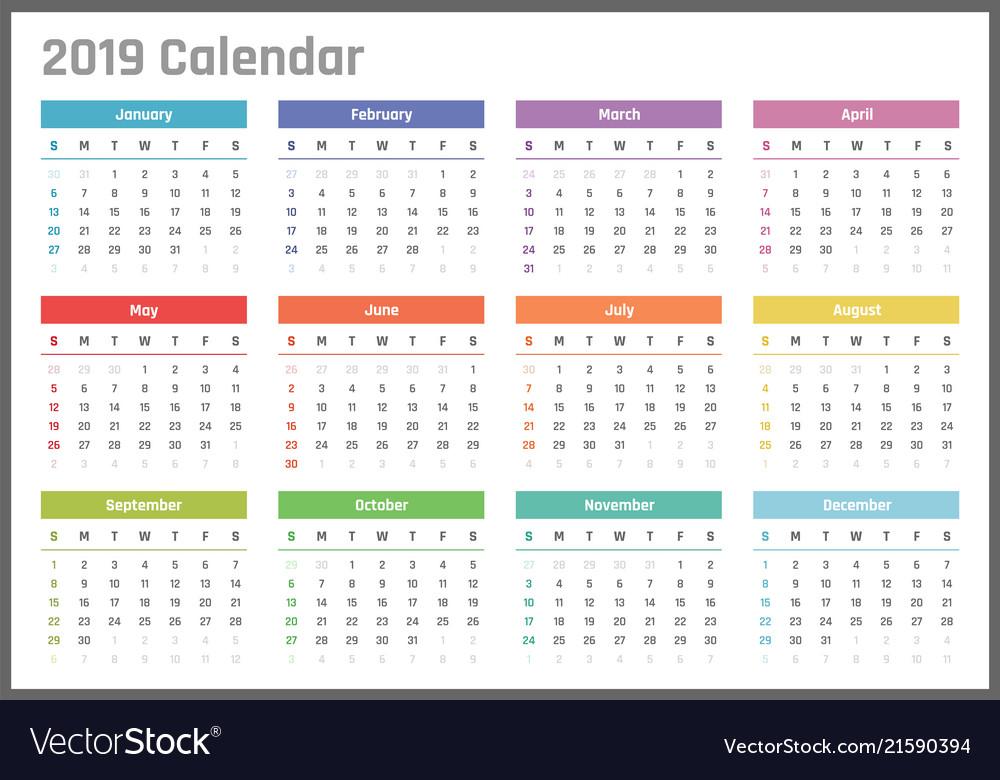 Calendar for 2019 starts sunday calendar
