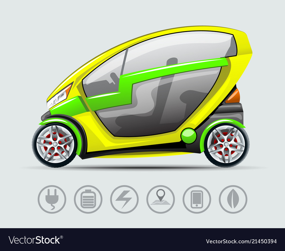Electric car with options icons
