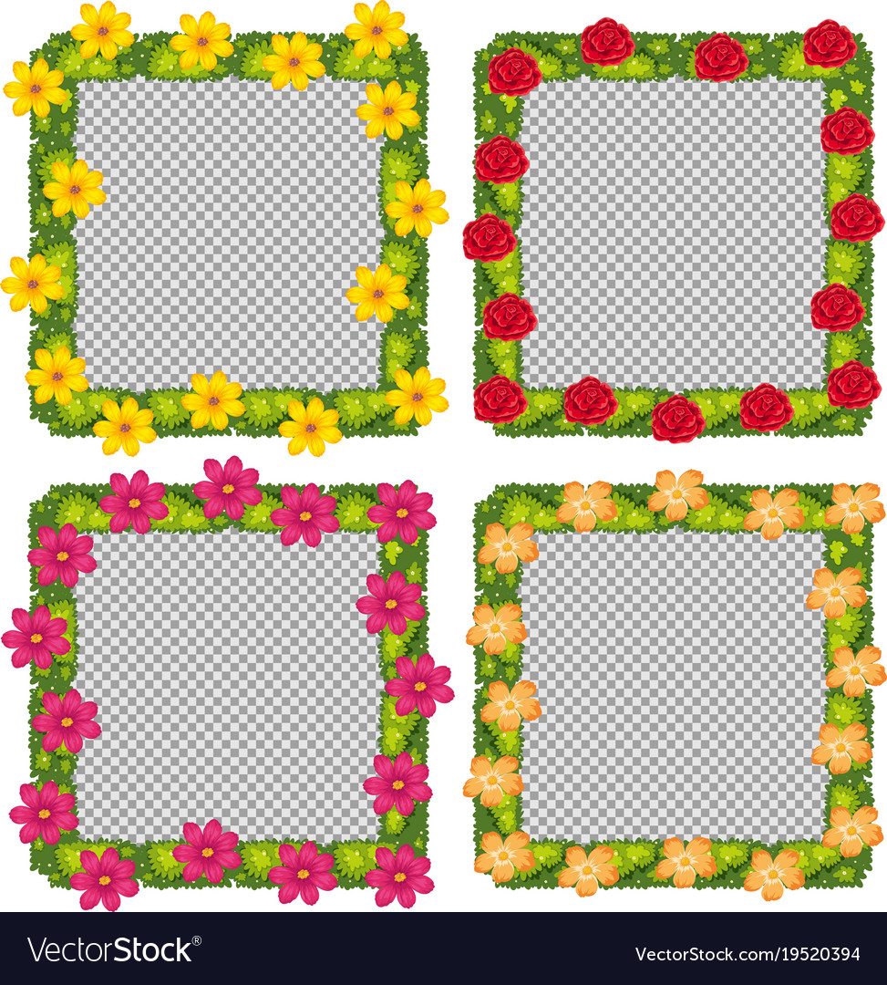 Four flower frames on white background Royalty Free Vector
