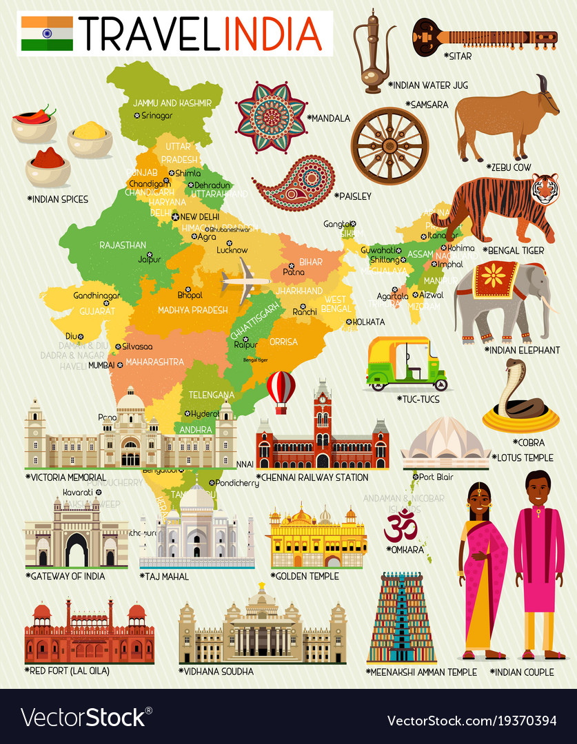 India Travel Map India travel map with sightseeing places Vector Image