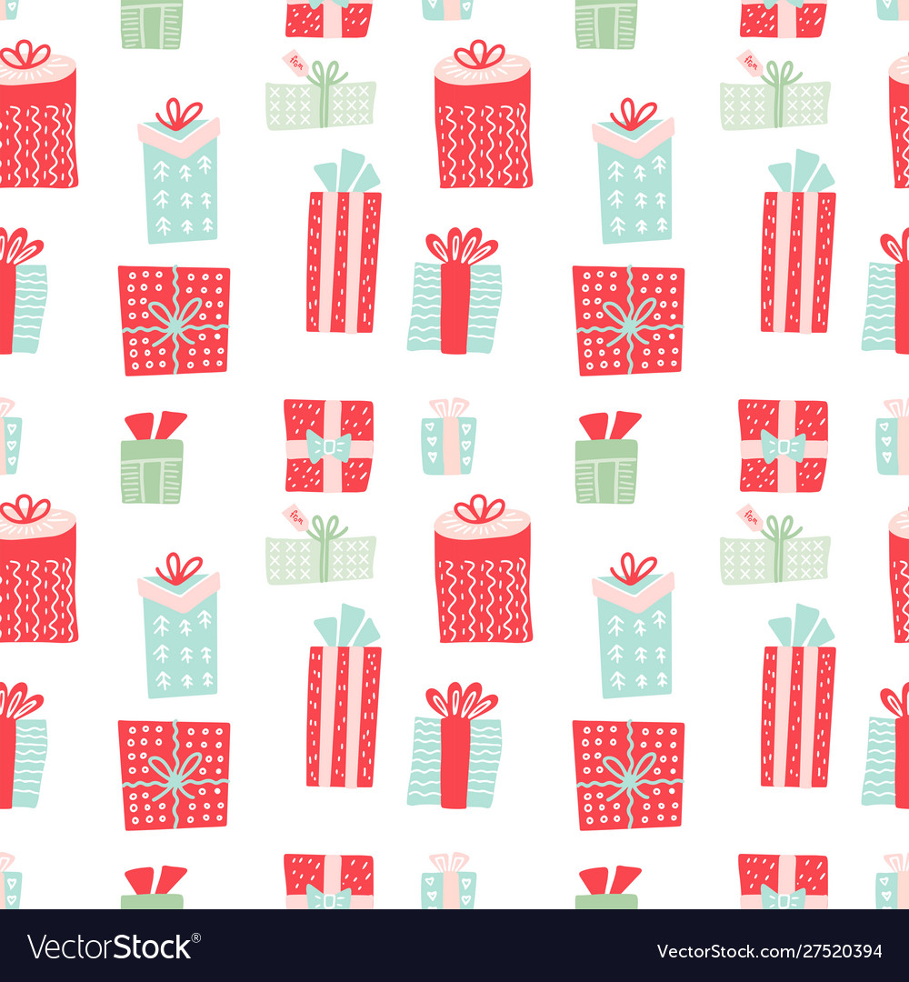 Seamless pattern with gift boxes christmas