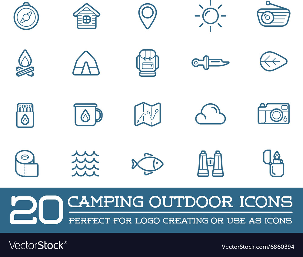 Set of Camping Camp Elements and Outdoor Activity