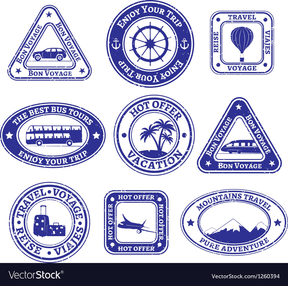 Set of scratched stamps on travel and tourism