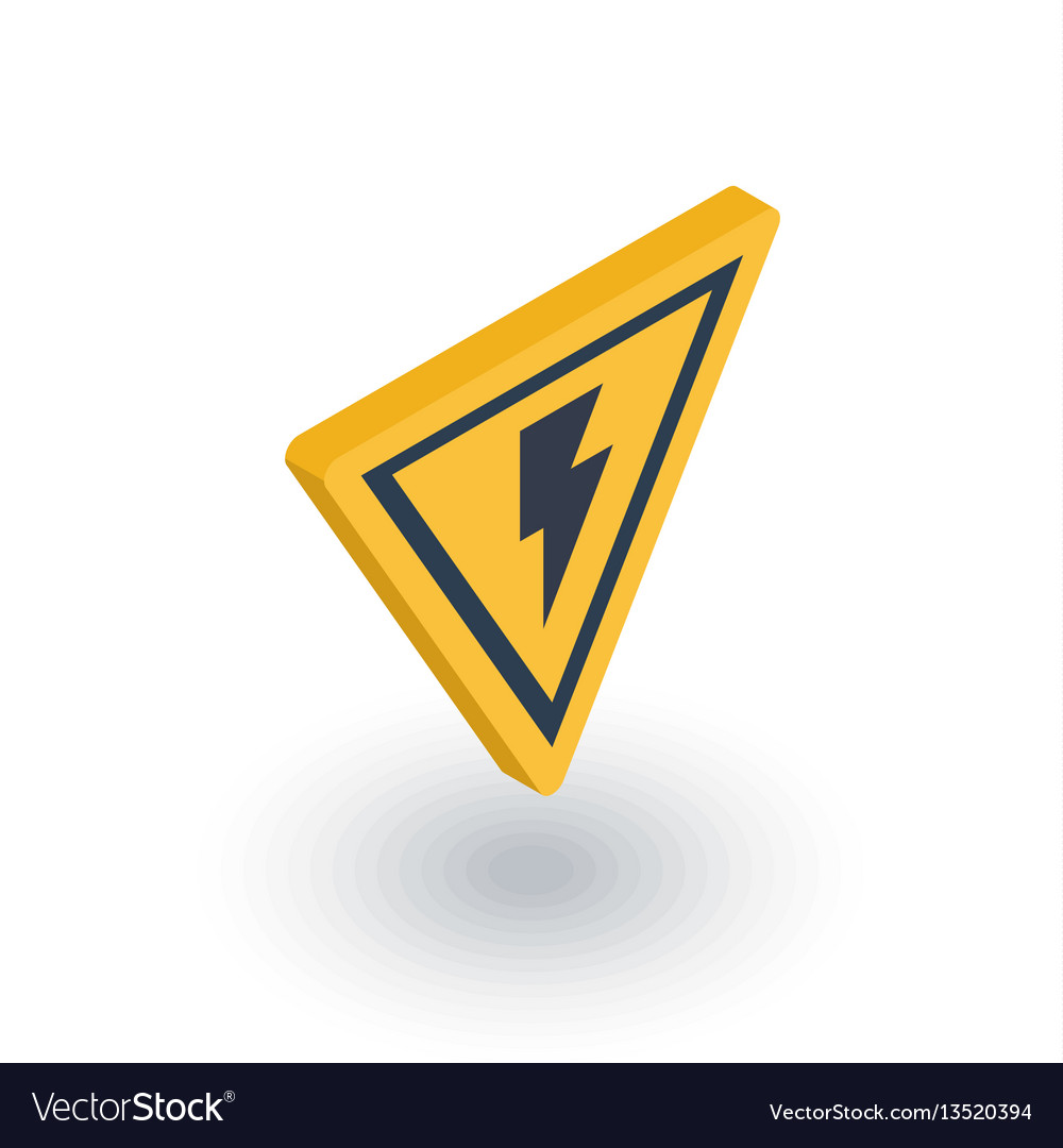Sign of danger high voltage isometric flat icon vector image