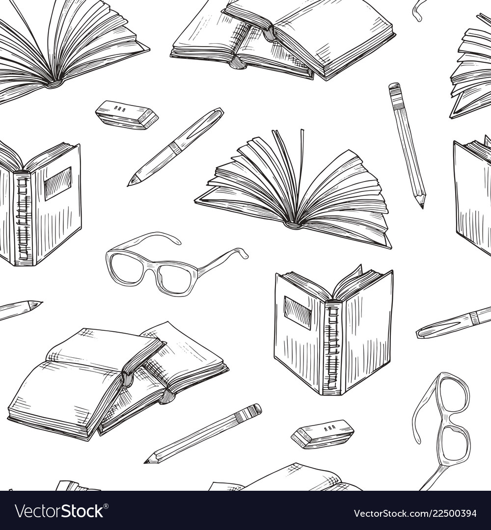 Sketch books seamless pattern ebooks reading and