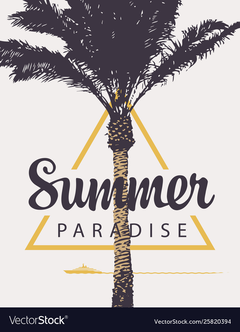 Summer banner with palm tree and ship