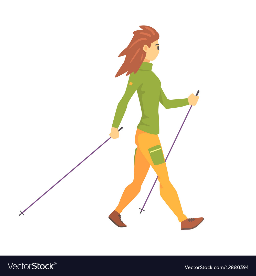 woman in green top with cap doing nordic walk vector image vectorstock