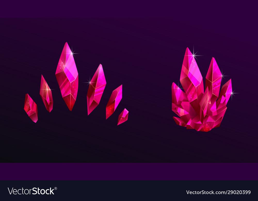 Beautiful pink crystals set shiny magic crimson