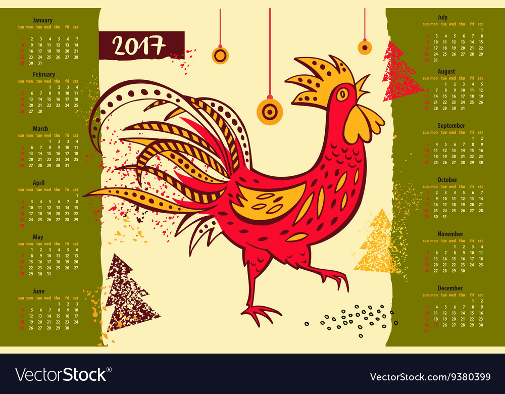 Calendar 2017 Chinese New Year of the Rooster