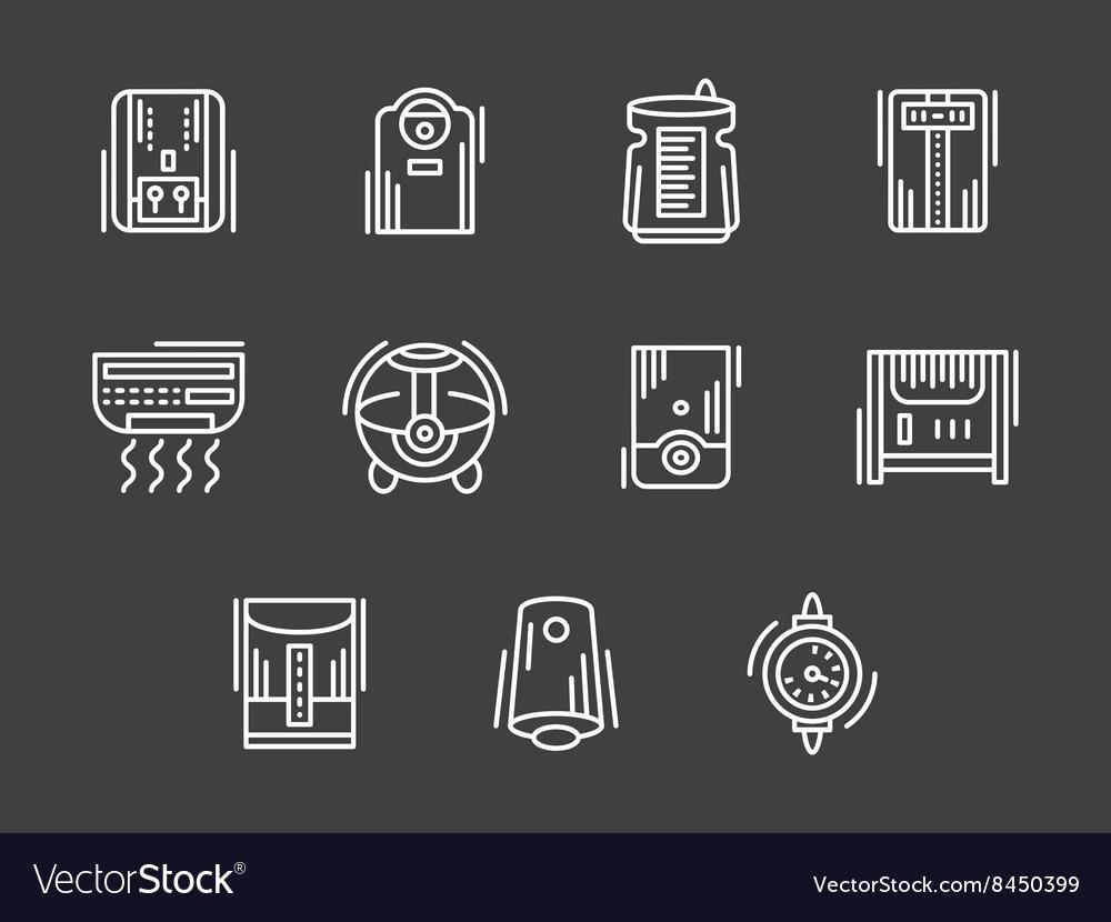 Climatic appliances white simple line icons
