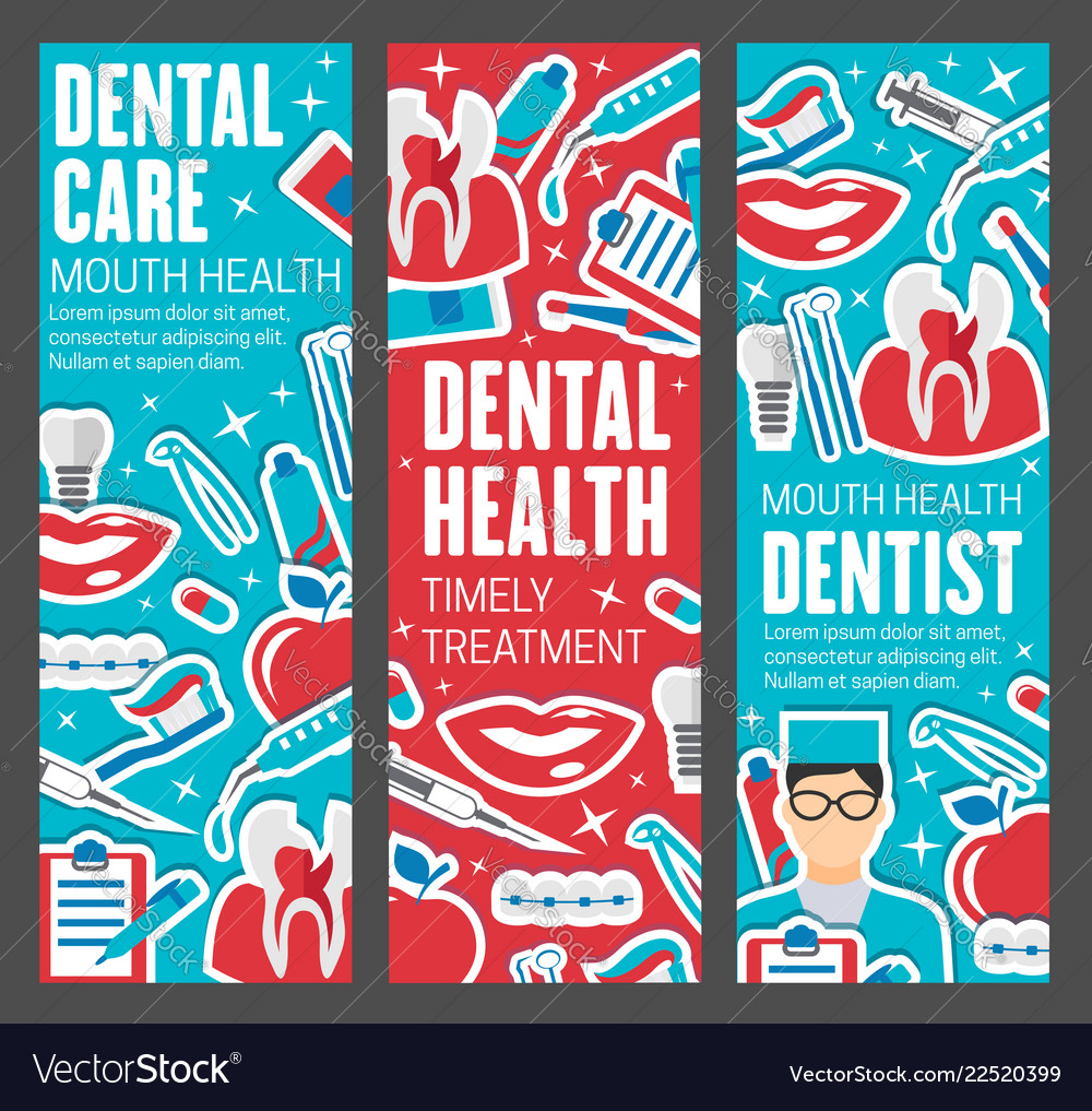 Dentistry banners doctor and dental care tools