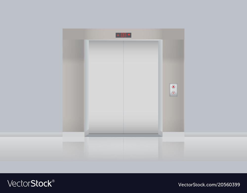 Elevator with closed doors blank mockup vector image & Elevator with closed doors blank mockup Royalty Free Vector