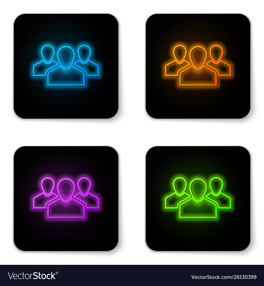 Glowing neon users group icon isolated on white