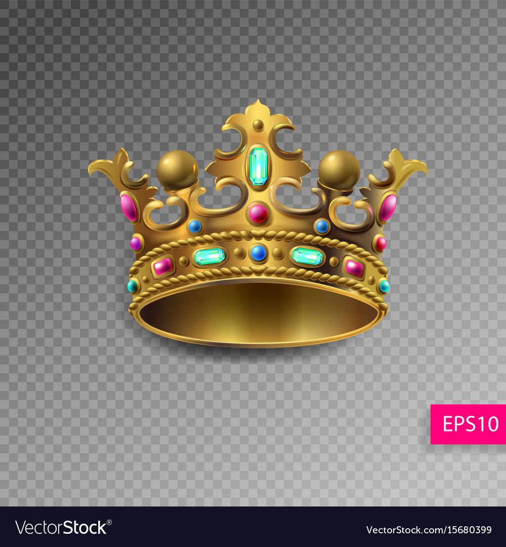 Golden royal crown with multi-colored precious